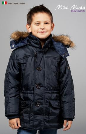 Куртка для мальчика с отстегивающимся капюшоном, на капюшоне эко-мех, на...