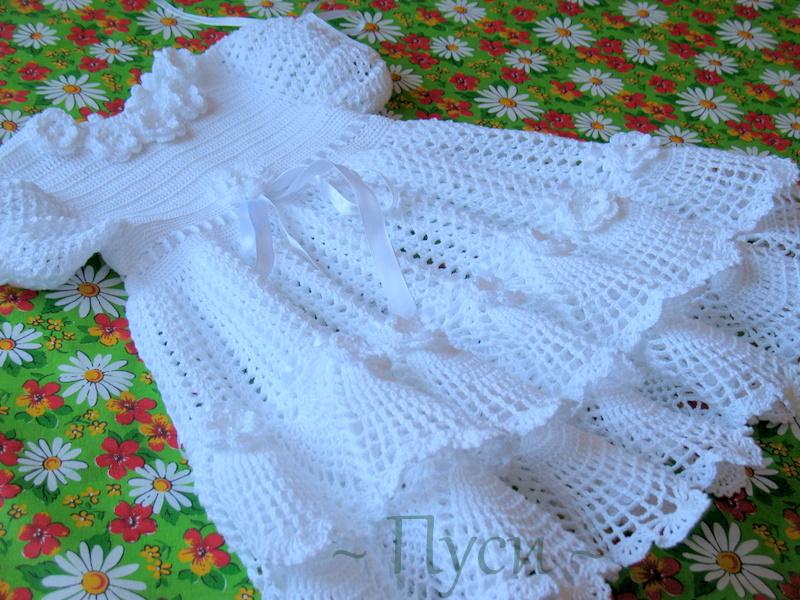 Крестильные платья для девочек связанные крючком 79