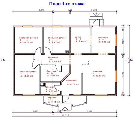 Проект одноэтажного дома СИП 21 площадью 96,6 м2.